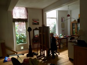 Tobias Tebbe, working in his studio, June 2019